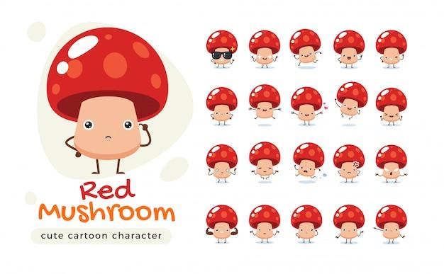 Maskotka Czerwonej Pieczarki. Ilustracja Na Białym Tle Premium Wektorów