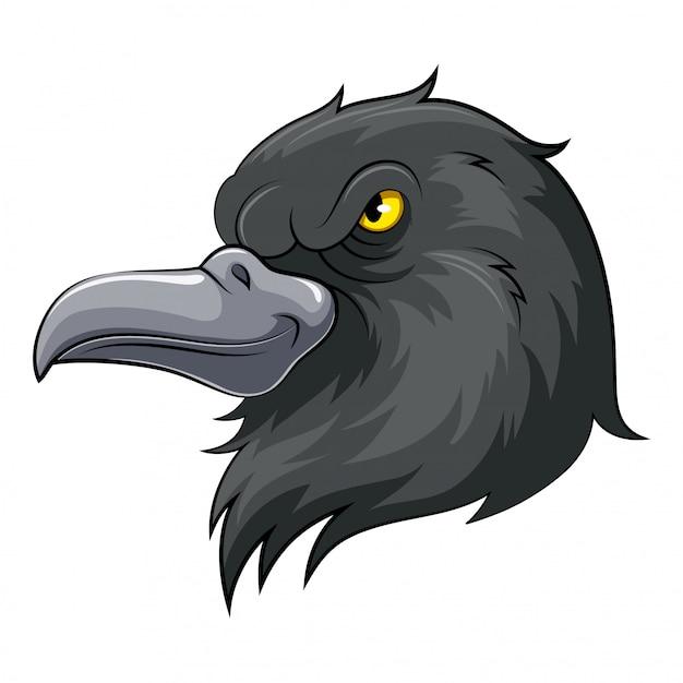 Maskotka Głowa Czarna Wrona Premium Wektorów
