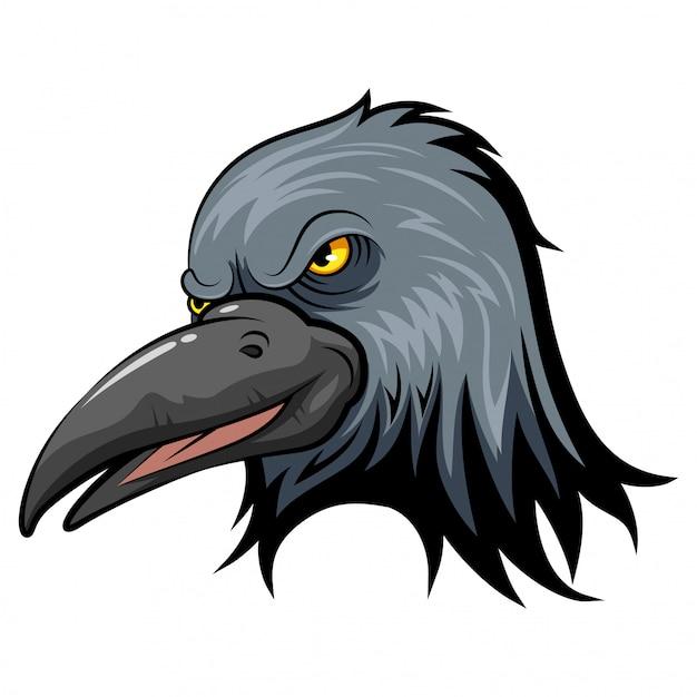 Maskotka Głowa Wrony Premium Wektorów