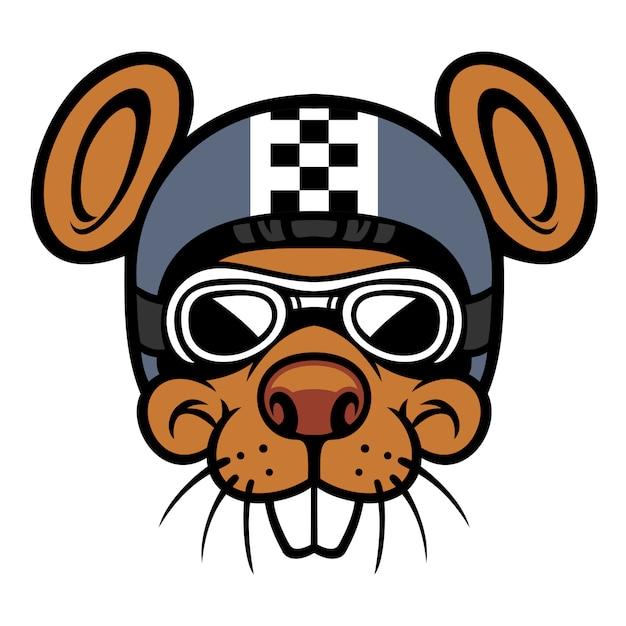 Maskotka głowy jeźdźca myszy Premium Wektorów