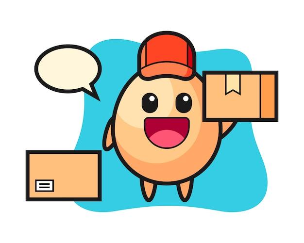 Maskotka Ilustracja Jajko Jako Kurier, ładny Styl Na Koszulkę, Naklejkę, Element Logo Premium Wektorów