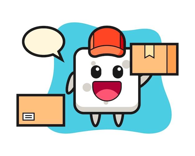 Maskotka Ilustracja Kostki Cukru Jako Kurier, ładny Styl Na Koszulkę, Naklejkę, Element Logo Premium Wektorów