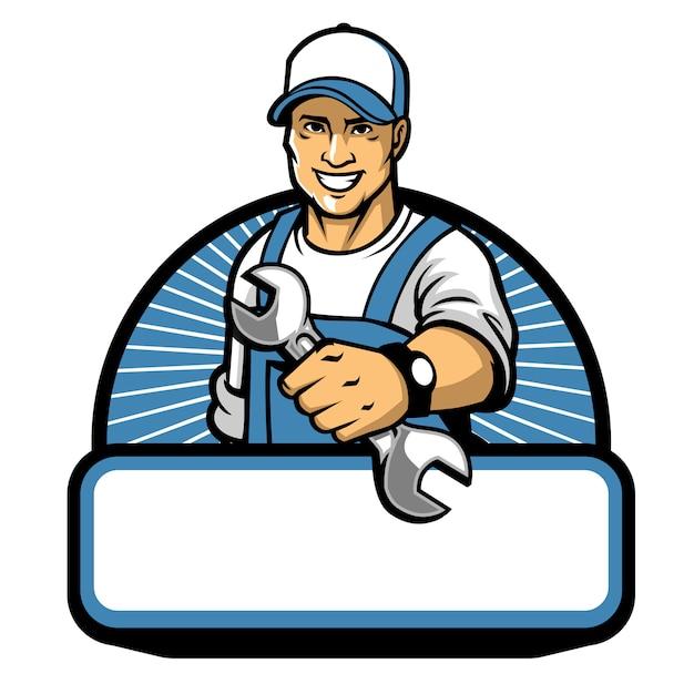 Maskotka mechanika z kluczem Premium Wektorów