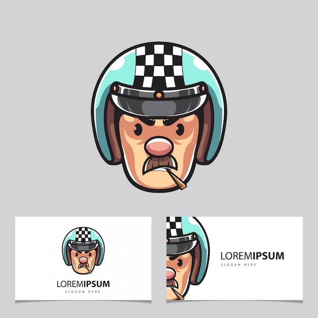 Maskotka Mężczyzna Rowerzysta I Wizytówki Premium Wektorów