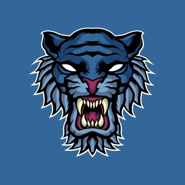 Maskotka Niebieski Tygrys Premium Wektorów