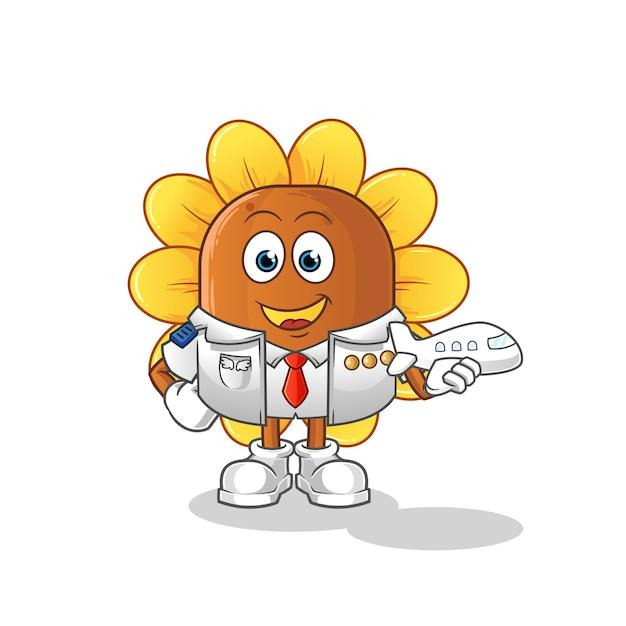 Maskotka Pilota Kwiat Słońca Premium Wektorów