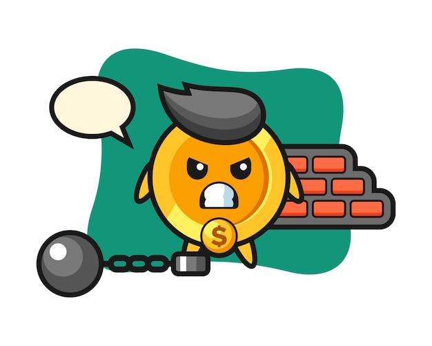 Maskotka Postać Monety Dolara Jako Więzień Premium Wektorów