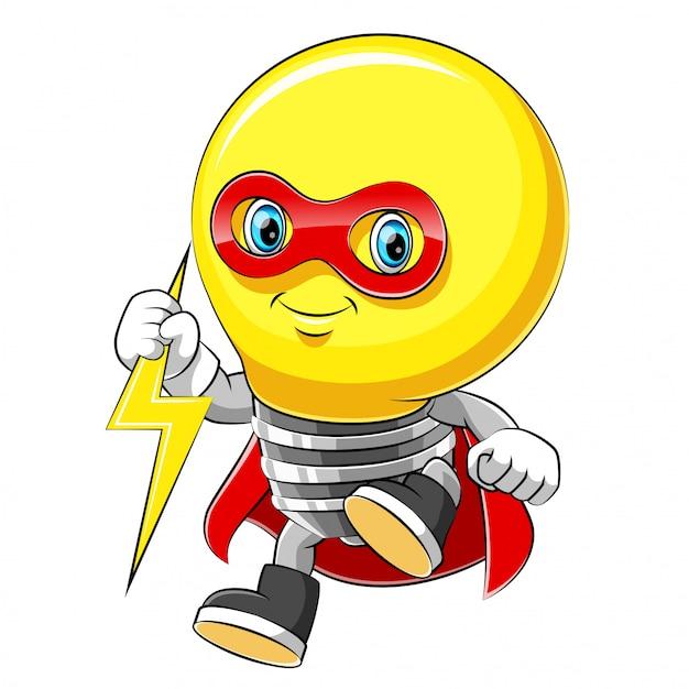 Maskotka Postać Z Kreskówki Wesoły Superbohatera żarówki W Czerwonym Płaszczu Premium Wektorów