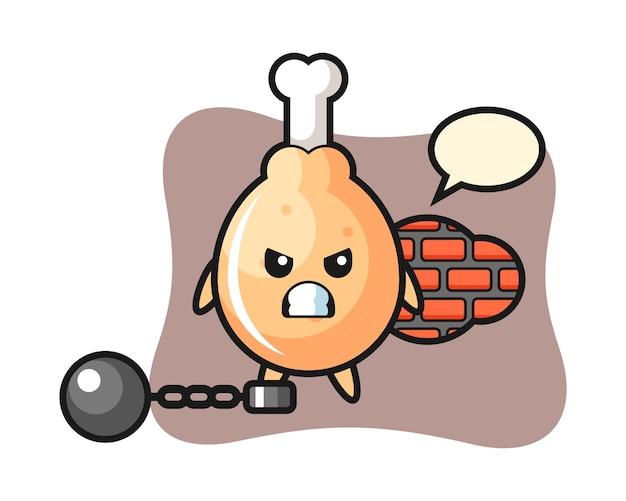 Maskotka Postaci Smażonego Kurczaka Jako Więźnia Premium Wektorów