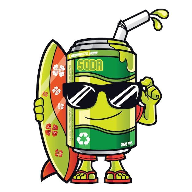 Maskotka Soda Can Premium Wektorów