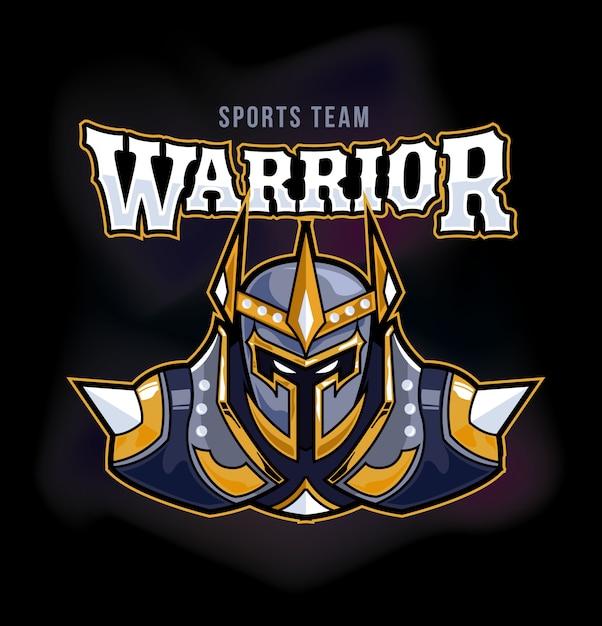 Maskotka Warrior Armor Sports Gaming Logo Premium Wektorów