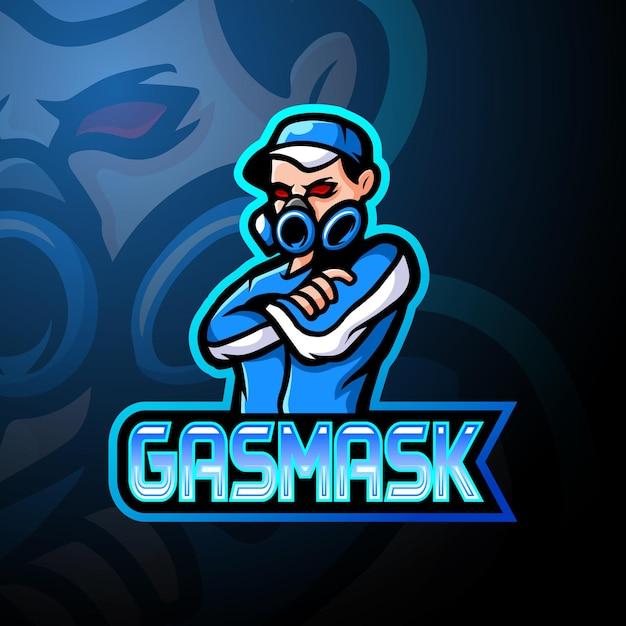 Maskotka Z Logo Esport Maski Gazowej Premium Wektorów