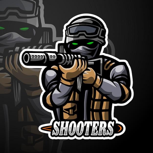 Maskotka Z Logo Strzelców Premium Wektorów