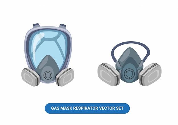 Maskowania Respiratora Gazowego Odzież Robocza W Pełnej Twarzy I Przyrodniej Twarzy Kreskówki Ustalona Ilustracja Odizolowywająca W Białym Tle Premium Wektorów