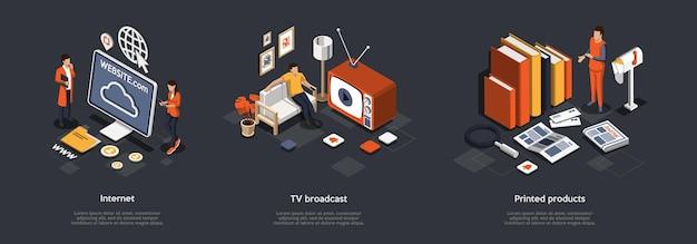 Mass Media I Breaking News Concept. Ilustracja. Premium Wektorów