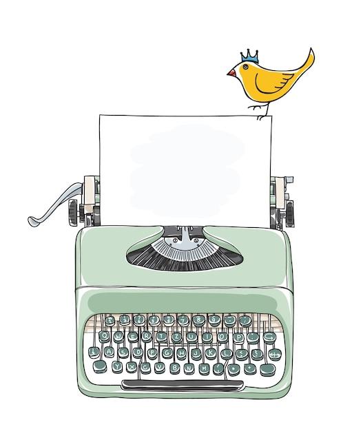 Maszyna do pisania przenośne i żółty ptak ręka wektor Premium Wektorów