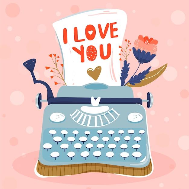 Maszyna do pisania z kartki papieru i kwiatów. miłość . Premium Wektorów