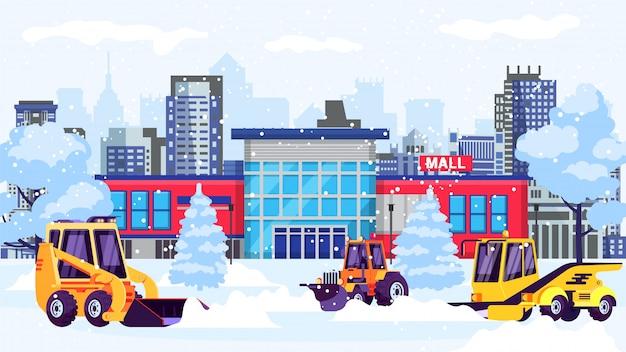 Maszyny Odśnieżające Czyszczą Ulicę Ze śniegu W Budynku Centrum Handlowego Premium Wektorów