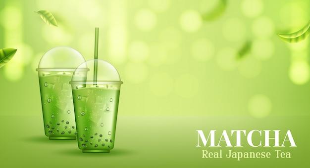 Matcha. Ceremonia Organicznej Zielonej Herbaty Matcha. Premium Wektorów
