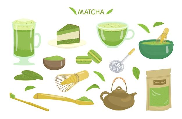 Matcha Herbaty I Deserów Wektor Zestaw. Premium Wektorów