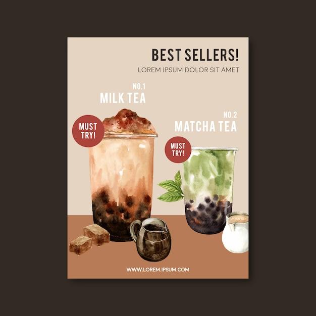 Matcha I Zestaw Do Herbaty Mleka Bąbelek Brązowy Cukier, Reklama Plakat, Szablon Ulotki, Ilustracja Akwarela Darmowych Wektorów