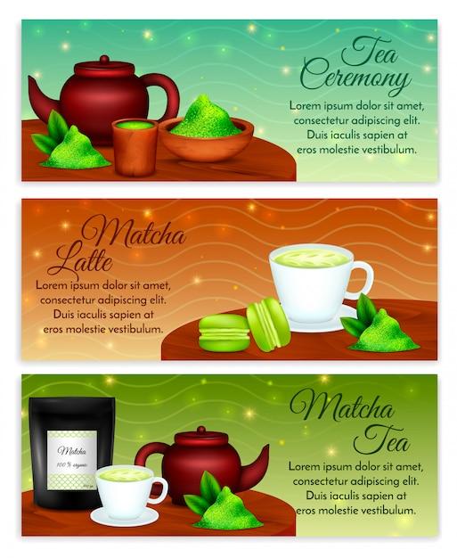 Matcha Latte Ceremonia Herbaty Akcesoria Poziomy Realistyczny Zestaw Z Organicznych Zielonych Liści W Proszku Darmowych Wektorów