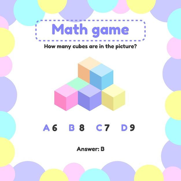 Matematyczna gra logiczna dla dzieci w wieku przedszkolnym i szkolnym. Premium Wektorów
