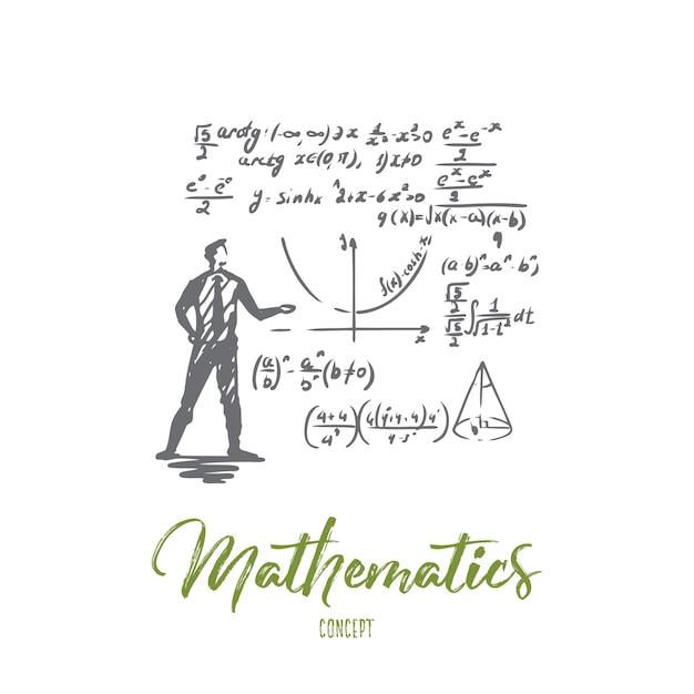 Matematyka, Edukacja, Nauka, Szkoła, Koncepcja Studiów. Ręcznie Rysowane Naukowiec I Szkic Koncepcji Formuły Matematycznej. Premium Wektorów