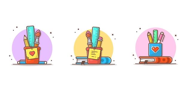 Materiały Z Linijki, Ołówka, Pędzla I Książki Ikona Ilustracja Premium Wektorów