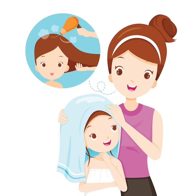 Matka Córka Pocierać Włosy Ręcznikiem Premium Wektorów