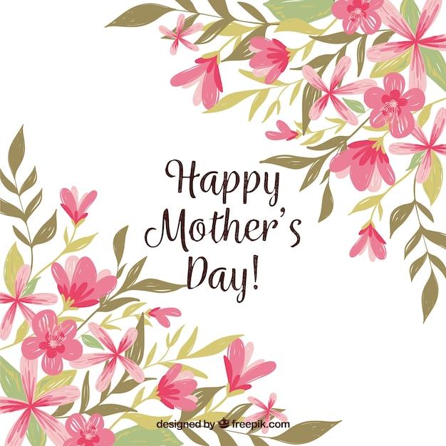 Matka dnia tło z kolorowymi kwiatami Darmowych Wektorów