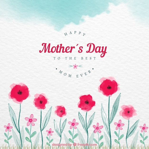 Matka dnia tło z czerwonymi kwiatami w akwareli Darmowych Wektorów