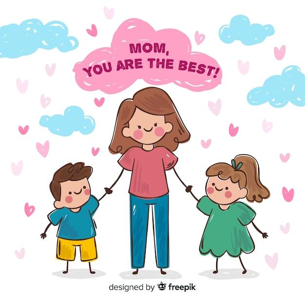 Matka Dzień Matki Przytulanie Jej Dzieci Tło Darmowych Wektorów