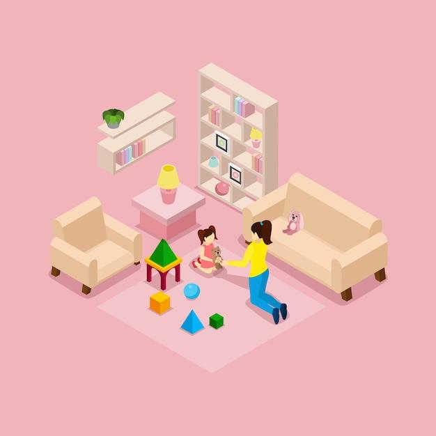 Matka i córka gra izometryczny transparent Darmowych Wektorów