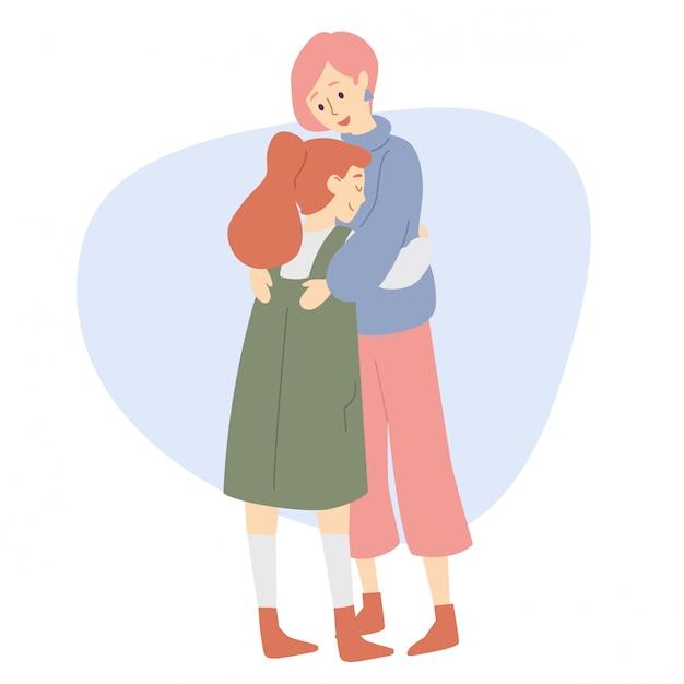 Matka i córka przytula. Premium Wektorów