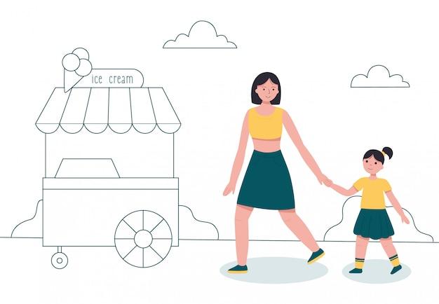 Matka I Córka Spaceru W Parku W Pobliżu Koszyka Lodów. Premium Wektorów