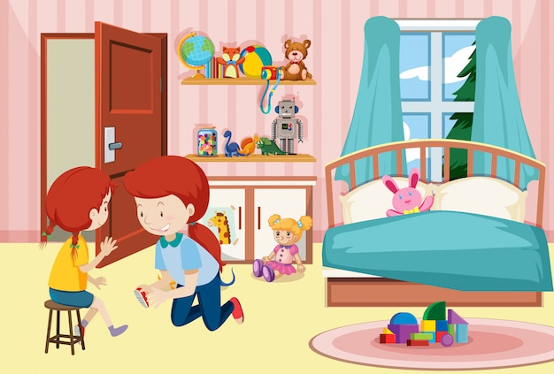Matka i córka w sypialni Darmowych Wektorów