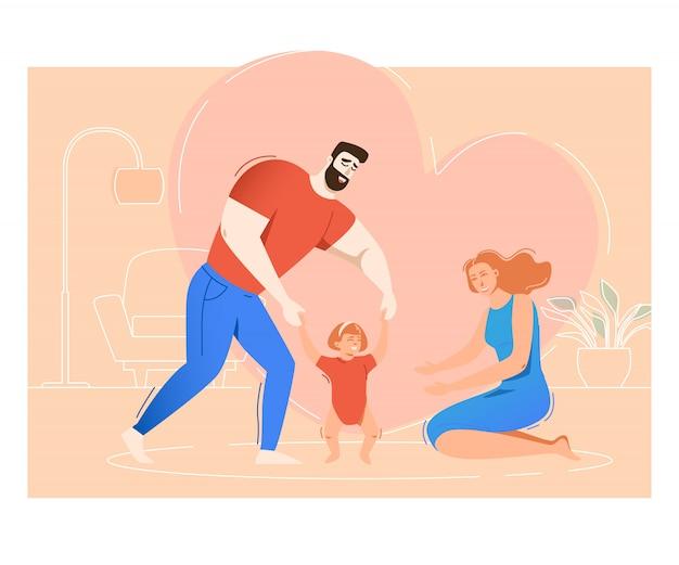 Matka i ojciec trenuje córki chodzić Darmowych Wektorów