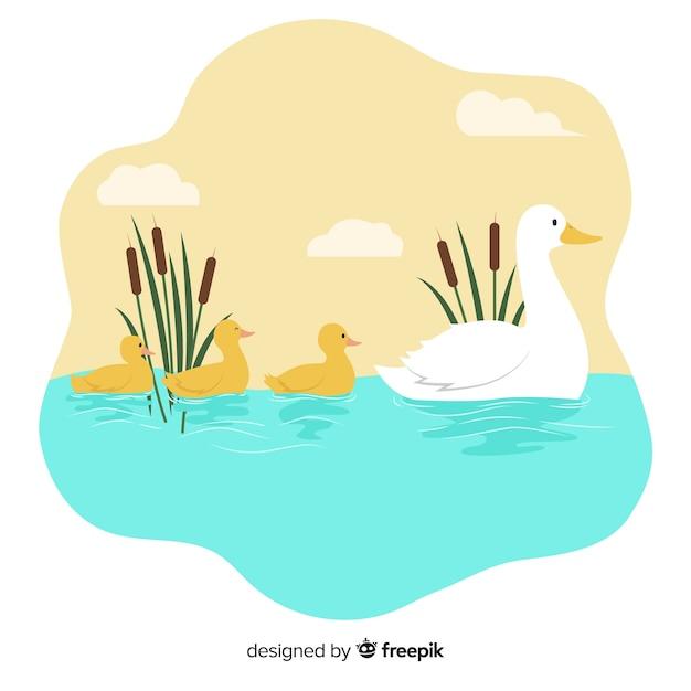 Matka kaczka i jej kaczki są razem Darmowych Wektorów