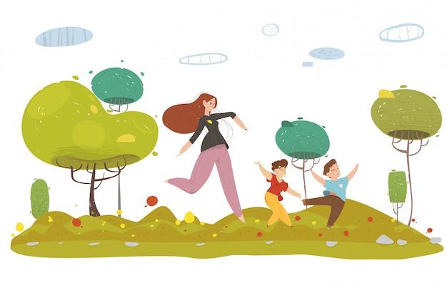 Matka z dwoma synami w lesie lub ogrodzie Premium Wektorów