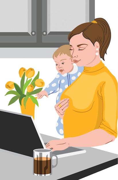 Matka Z Jej Dzieckiem W Jej Rękach Pracuje Przy Laptopem Darmowych Wektorów