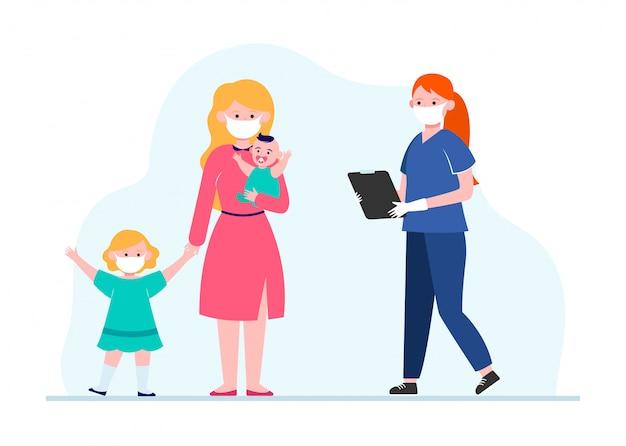 Matka Z Małymi Dziećmi Odwiedzająca Pediatrę Darmowych Wektorów
