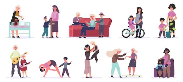 Matki I Dzieci. Codzienne Zajęcia Macierzyństwa, Mama I Dzieci Czytają Książkę, Bawią Się I Jeżdżą Na łyżwach Premium Wektorów