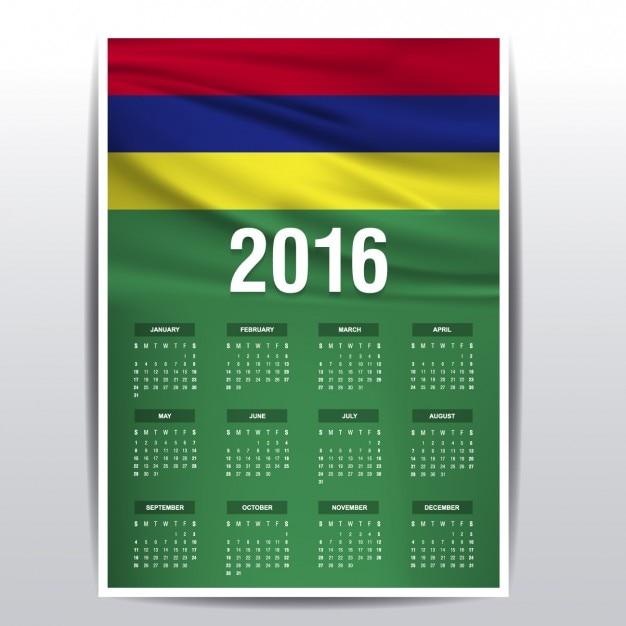 Mauritius Kalendarz 2016 Darmowych Wektorów