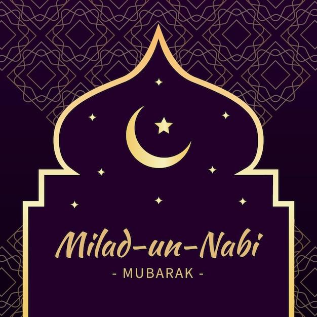 Mawlid Milad-un-nabi Powitanie Tło Z Księżycem I Gwiazdami Premium Wektorów