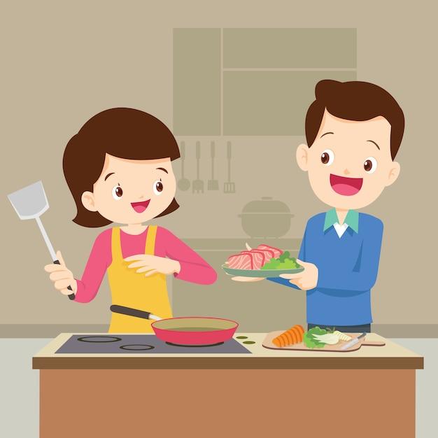 Mąż i żona przygotowują się razem Premium Wektorów
