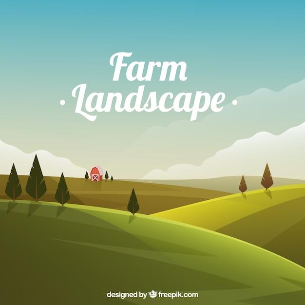 Meadow krajobraz z stodole Darmowych Wektorów