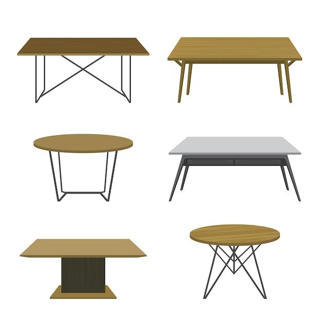 Meble Drewniany Stół Odizolowywający Wektor Premium Wektorów