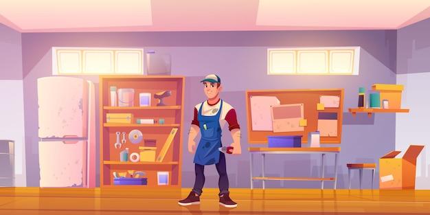 Mechanik W Garażu Z Wyposażeniem Do Stolarki Darmowych Wektorów