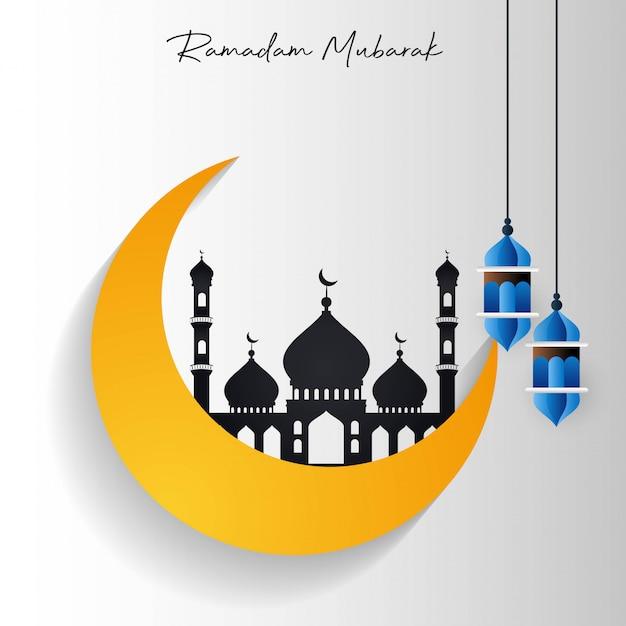 Meczet ramadan kareem w cresent moon Darmowych Wektorów